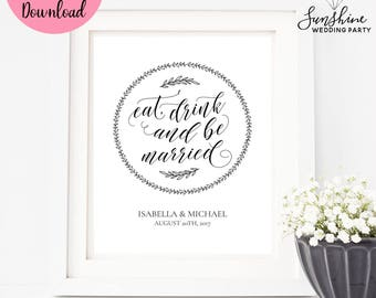 Eat Drink and Be Married, Wedding Sign, Wedding Cards Sign, Wedding Decor, Digital Download, Digital Wedding Sign, Wedding Sign, SKU#SIGN020
