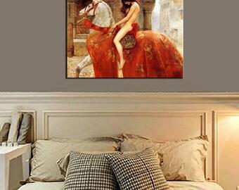 Lady Godiva Frameless Canvas Print Wall Art DIY Kit stretcher bar Fine Art Reproduction Home Decor US wholesaler Customized Size made in US