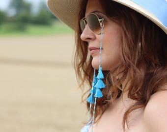 Necklace / Bracelet for sunglasses from beads and tassels turquoise blue summer 2017