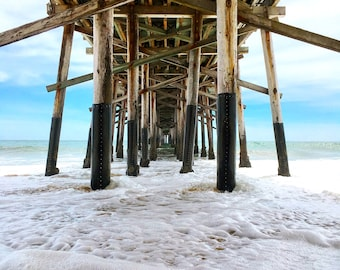 Under the Balboa Pier Photograph Print, Beach life in Orange County, Pier, Ocean, Water, Sand, Home Decor, Print Art, Wall Art, Photography