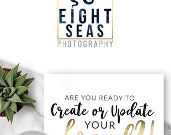 154 - Eight Seas, LOGO Premade Logo Design, Branding, Blog Header, Blog Title, Business, Boutique, Custom, Octopus, Animal, Sea, Ocean