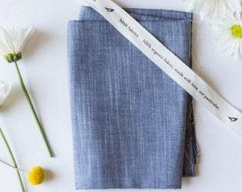 Organic chambray fabric, Birch dusk chambray, yarn dyed chambray, Birch organic fabric, dark blue chambray, blue chambray