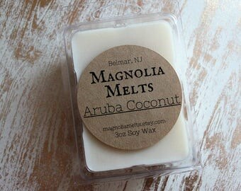 Aruba Coconut, Scented Soy Wax Melt, Aruba Coconut Wax Melt, Soy Melt, Wax Melt, Coconut Scent, Coconut Wax Melt, Tropical Scent Wax Melt