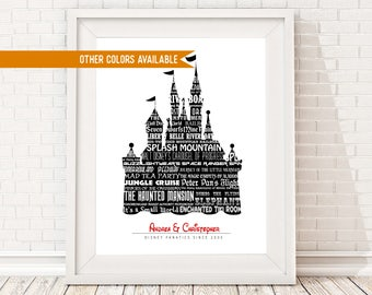 CUSTOM Disney Sign, CUSTOM Disney Sign, Disney Castle Print, Disney Family Sign, Romantic Disney Gift, Custom Mickey Mouse, Vintage Disney