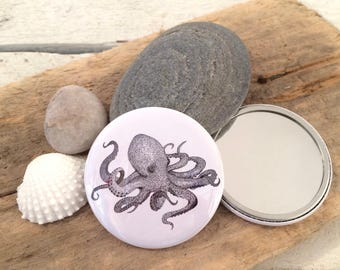 Octopus mirror, pocket mirror, compact mirror, party bag favour, nautical gift, wedding favour, bridesmaid gift, stocking filler, octopus