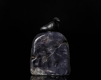 Tombstone and Crow Miniature Sculpture