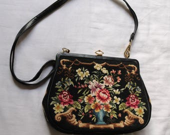 Floral hand embroidered bag