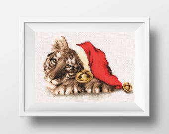 christmas cross stitch kit christmas xstitch counted cross stitch tiger holiday cross stitch christmas needlework DIY christmas embroidery