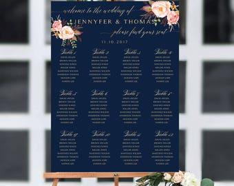 Wedding seating chart template, Wedding Seating Chart, Wedding seating poster, Navy seating chart, Seating chart, Alphabet chart, SC109