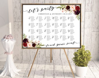 Wedding Seating Chart, Wedding seating template, Navy seating chart, Seating chart, seating chart poster, boho seating chart alphabet, #117