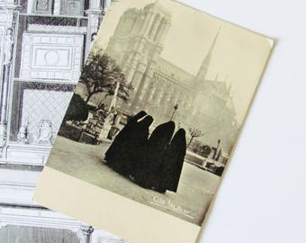 Paris - Nuns/sisters postcard, contemplation