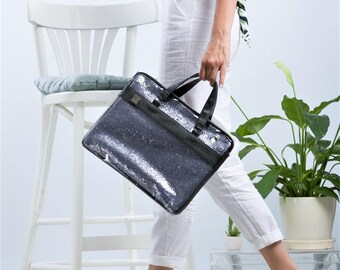 15% off - Unique laptop bag for women, glitter blue laptop case, vegan laptop bag, water proof laptop bag, college student gift