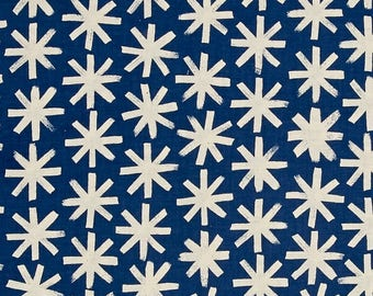 Cotton + Steel, SS Bluebird, Plink Plink in Natural, Blue and Ivory Fabric, Denim Blue Quilting Cotton, Asterisk Fabric, Telephone Fabric