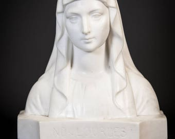 RARE Signed Antique Blessed Virgin Mary Our Lady of Lourdes Wax Bust Statue 1