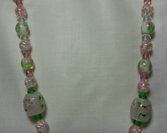Pink and Green Glass Necklace/ 22 in/