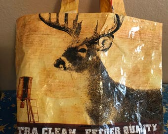 Feed Bag Tote, Reusable Tote Bag, Up-Cycled Tote, Shopping Tote, Recycled shopping bags, Famers Market Tote, Purina Layer