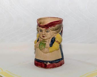 Vintage Majolica Creamer, Colonial Woman. Hand Painted, Made in Japan, Small Pitcher