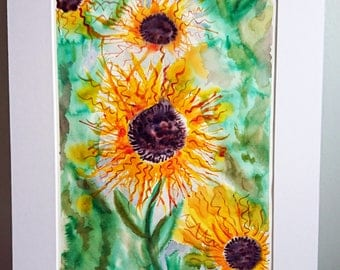 Flower art decor, flower art sunflower, watercolor painting, flower artwork, floral paintings, flower art work, nature artwork, original art