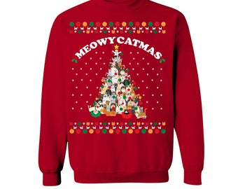 Funny Meowy Catmas Christmas Style Ugly Sweater for Holidays