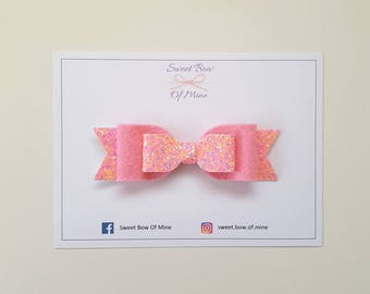 Pink Bow Headband or Clip | Light Pink Glitter & Wool Felt | Baby Headband, Baby Bow, Girls Clip, Glitter Bows