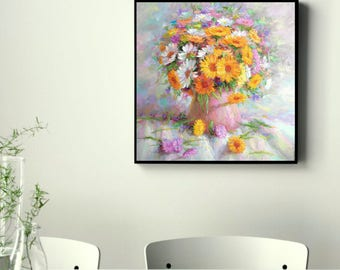 Large Original Oil Painting still life colorful  Flowers  contemporary fine art Hand Painted Calendula Home Living room bedroom hall wall de
