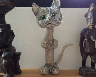 Cat totem, paper mache and acrylic.