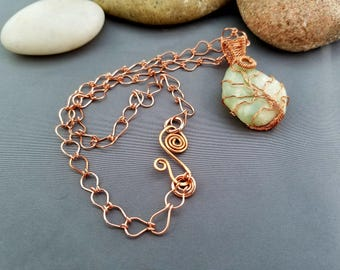 Tree Of Life Sea Foam Green Sea Glass Copper Wrapped Handmade Chain Pendant Necklace