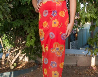 90's Red Mesh Maxi Skirt w/ Floral Design, Size M