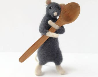 Miniature mouse Grey mice Wool  animals Decoration for room Cute animal ornament Mouse animals wooden spoon Art doll Gift idea for sister
