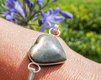Silver Bracelet with rainbow obsidian heart