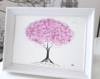 Purple Blossom Painting: original framed watercolour painting, purple cherry blossom gift, framed watercolour gift, can be personalised!