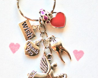 Cute Tooth Fairy keychain, keyring, Tooth Fairy gift