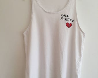 White 'Cold Hearted' tank top. Size 8/10 S/M.