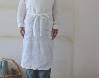 Linen apron white linen 100% [MY BEST APRON]