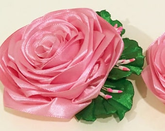 ichikraft Pink Rose Flower Hair Clip (Handmade)