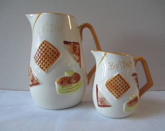 Vintage Napcoware Batter and Butter Pitchers, Napcoware Pitcher, Ceramic Pitchers,