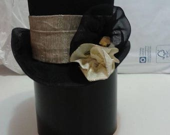 Mad Hatter Mini Hat/Alice in Wonderland Party Hat/Tini Top Hat/Mad Hatter Tea Party Hat/Small Top Hat/Mini Top Hat Fascinator/Black Top Hat/