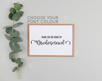 MULTI PACK Thank You For Being My Bridesmaid - Bridesmaid Thank You - Bridal Party Thank You - Also: Maid of Honour, Flower Girl, Best Man