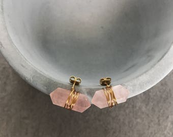 Rose quartz crystal earrings, Stud gemstone earrings, Bridesmaid earrings, Blush pink earrings, Boho earrings