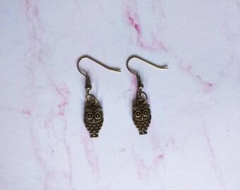 Bronze Plated Owl Earrings - Dangle earrings