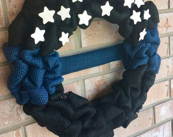 Thin Blue Line Wreath - Back the Blue - Police Lives Matter - Police Officer Wreath - Law Enforcement - Officer Appreciation