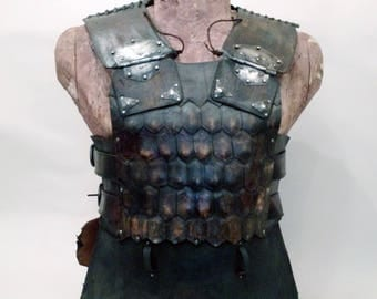 Viking Leather Cuirass with Beaten metal | Leather cuirass | Body Armour | Torso Armour | artificial aging |