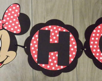 Minnie Mouse Birthday Banner, Minnie Mouse Birthday, Minnie Mouse Banner, Minnie Happy Birthday, Red and white Minnie