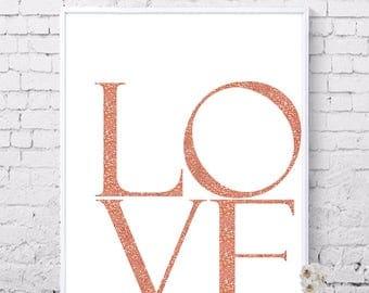 LOVE printable, Rose gold glitter prints, Love poster, Wall decor, Fashion prints, Printable wall art, Digital prints, Instant Download