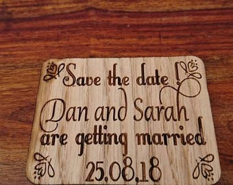 Save the date fridge magnets made from solid oak