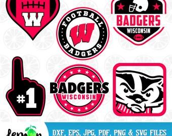 Wisconsin Badgers SVG, Wisconsin Monogram, Badgers Clipart, Wisconsin SVG, University Monogram, Instant Download, 72