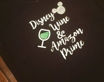 Disney Wine and Amazon Prime T-Shirt For Women