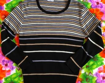 Vintage Black Gray Beige Striped Retro Scoop Neck Lightweight Sweater Pullover Jumper Top 1970s