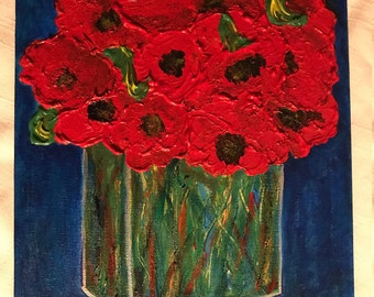 Bright red poppies in clear, rectangular vase, on blue: Original Acrylic on Canvas