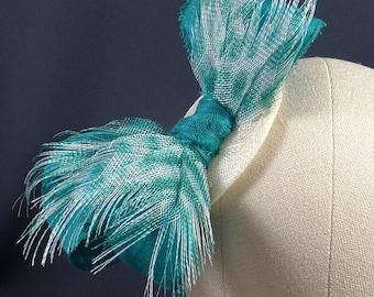 Teal green and white fascinator hat, handmade sinamay headpiece